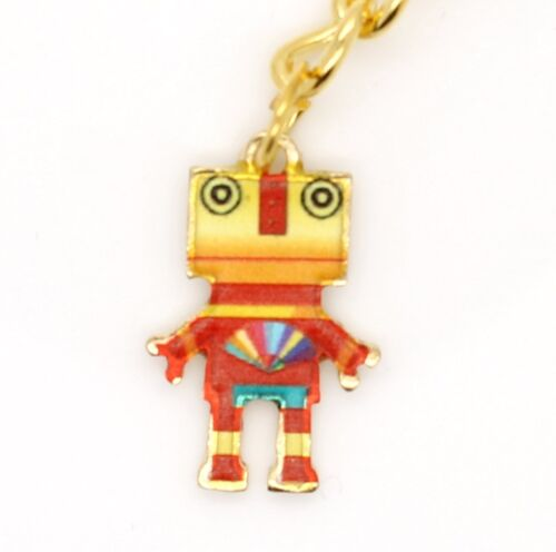 Red /& Yellow Robot Metal Gold Keyring Gift Idea For Him Her 20mm