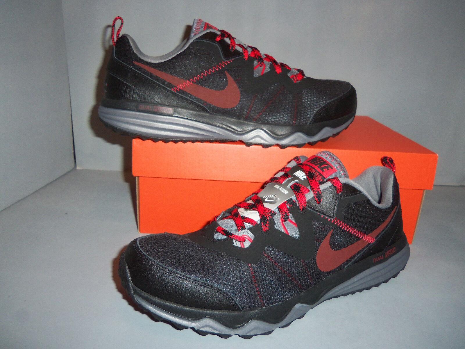 Nike Men's Dual Fusion Trail Black Red Runningl Shoes SIZES! NIB NEW