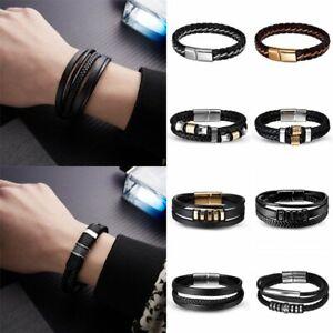 Mens-Boys-Handmade-Leather-Braided-Cuff-Wristband-Bracelet-Bangle-Jewellery-Gift
