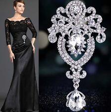 Large Flower Bridal Silver Brooch Rhinestone Crystal Diamante Wedding Broach Pin