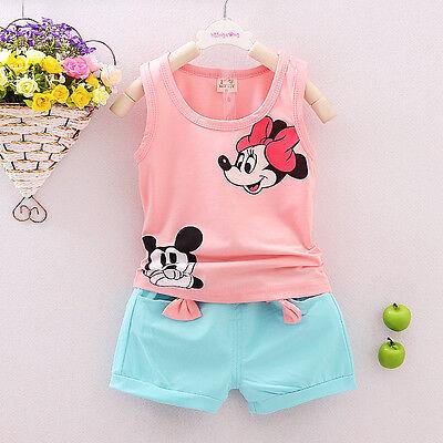 Toddler Kids Baby Girls T-shirt Tops+Pants/Shorts/Dress Outfits Clothes 2PCS Set