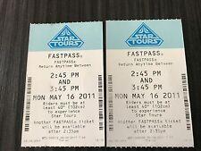Disney FASTPASS Walt Disney World Fast Pass Tickets STAR TOURS PREVIEW 5/16/11