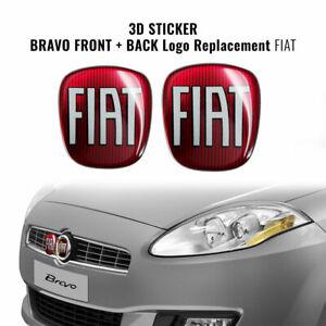 Adesivo-Fiat-3D-Ricambio-Logo-per-Bravo-Anteriore-Posteriore