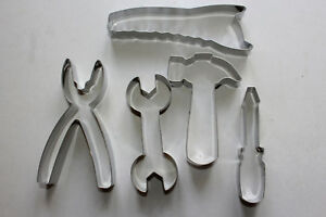 TOOL-KIT-COOKIE-Biscuit-CUTTER-SET-Hammer-Screwdriver-Wrench-5pc-STAINLESS-STEEL