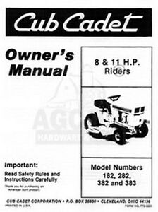 ih cub cadet model 182 282 382 383 operators manual ebay rh ebay com Case IH Logo Case IH Farmall 70