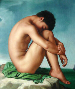 """Dream-art oil painting nude male portrait gay - strong man by ocean canvas 36"""""""