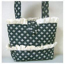 NEW handmade tote handbag Fleur de Lis stylish gray   purse  faffygiraffe