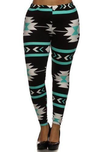 Plus Size Leggings XL-2X Polyester Spandex Black Aqua White Tribal Print EEVEE