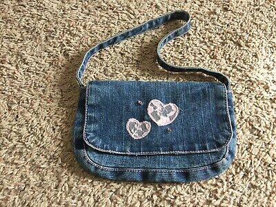Girl/'s blue jean denim purse bag with frog embroidered
