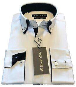 Da Uomo Navy Camicia Smart Casual Formale Gessato doppio colletto bianco maniche lunghe