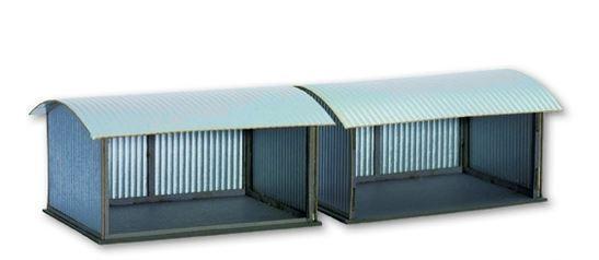 666800 Noch Korrugated Metal Shelters (2Pcs) Laser - Cut Kit HO skala modelllllerler järnvägway