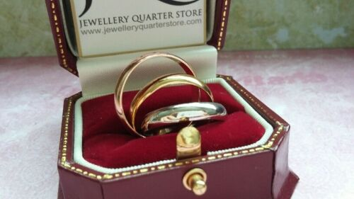 925 Silver 3mm Three Colour Russian Wedding Ring Gift Boxed Size O ONLY