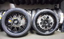 "COMPLETE SUPERMOTO 17"" WHEELS WITH TIRES WR250R BLACK HUBS WITH BLACK RIMS"