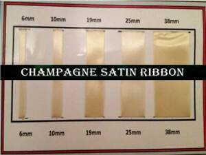 38mm Width 10 Quality Champagne Color Organza Ribbon 6 19,25 Various Lengths