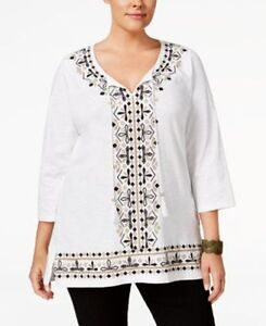 d0249bd5945 Image is loading JM-Collection-Woman-Plus-Size-Embroidered-Tunic-Bright-