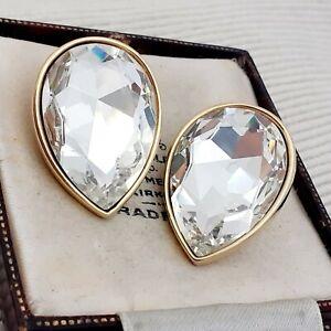 Vintage-1980s-Huge-Tear-Drop-Diamante-Crystal-Glass-Clip-on-Earrings