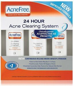 Acnefree 3 Step Acne Treatment Kit With Benzoyl Peroxide Oil Free