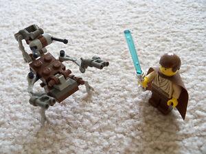 Lego-Star-Wars-Rare-Droideka-amp-Obi-Wan-Kenobi-Padawan-Ponytail-Silver-Chrome