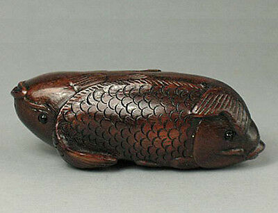 "1940's Japaense Boxwood Netsuke ""TWO CARP FISH"" Carving (WN305)"