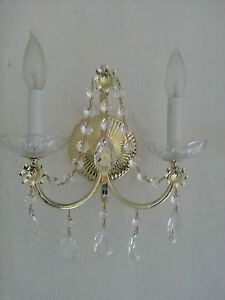 Vintage Schonbek 2 Light Brass Look Crystal Wall Sconce