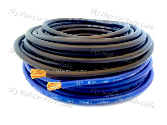 50 ft Total 8 Gauge AWG 25' BLACK / 25' BLUE Power Ground Wire Sky High