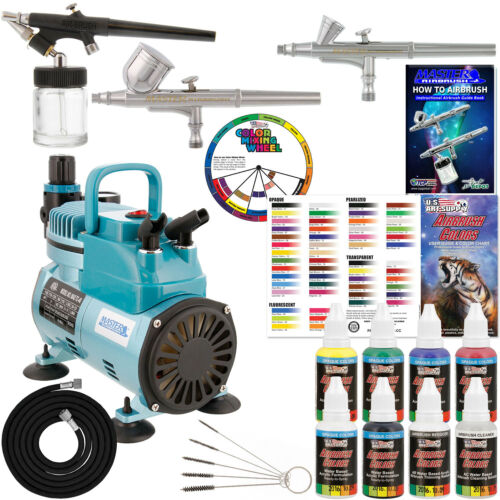 3 Master Airbrush TC-40 Air Compressor Kit 6 Primary Colors Acrylic Paint Set