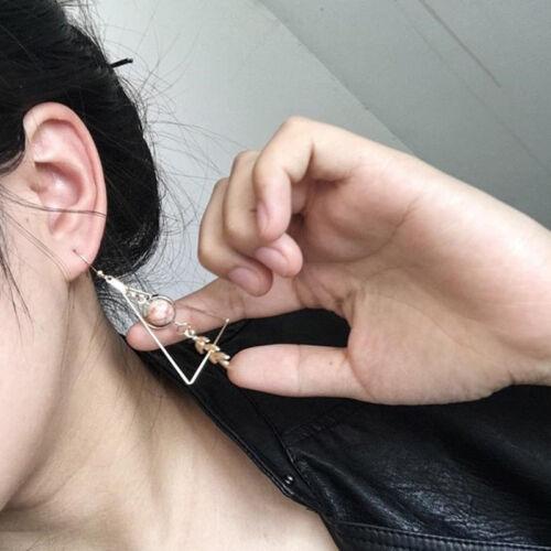 Womens Triangle Leaf Marble Drop Dangle Hook Earrings Gold Tone Jewellery 6A