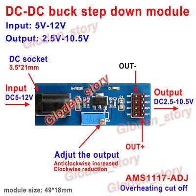 Mini DC-DC Buck Step-down Converter Volt Regulator 5V-12V 7.4v to 3v 3.3v 5v 9v
