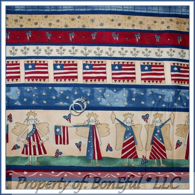 BonEful Fabric FQ Cotton Quilt American Flag ANGEL Stripe Red Blue Country Heart