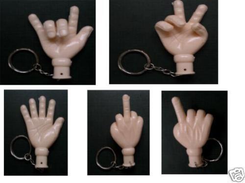 SET á 50 Schlüsselanhänger biegbare Hand Stinkefinger Keychain