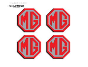 MG-ZS-LE500-Style-Alloy-Wheel-Centre-Caps-Badge-Inserts-Red-Silver-45mm-Badges
