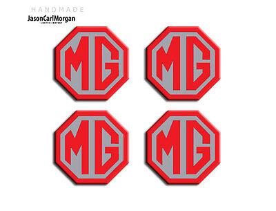 Mg Zs Le500 Stile Lega Ruota Centro Caps Badge Inserti Distintivi Rosso Argento 45mm-