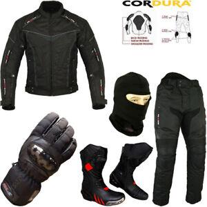 sports shoes d4074 8930d Details zu Herren Schwarz Set Ce Panzer Motorrad Jacke Hose Stiefel  Handschuhe Anzug