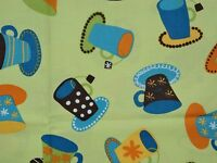 Metro Cafe By Lesley Grainger For Robert Kaufman, Cups On Lt Green, 100% Cotton
