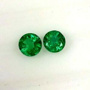 0-96ct-Natural-Emerald-round-top-green-good-luster-matching-pair-gems