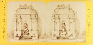 Francia Parigi Fontana Saint-Michel, Foto Pl61n Stereo Albumina Ca 1868