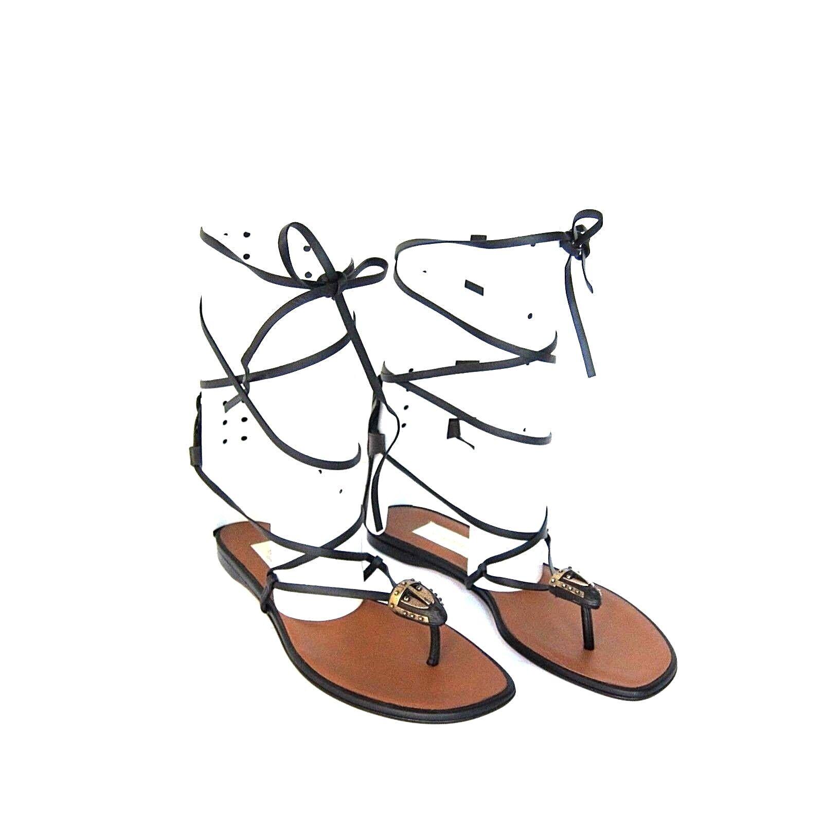 J-2433163 Nuevo Valentino Garavani con Cordones Piel Negra Calzado Sandalias Us