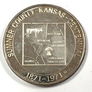 Kansas-Sumner-County-Centennial-Historico-Society-1871-1971-Bronce-Moneda