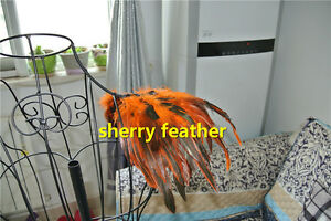 1 pair orange feather epaulette pads Carnival feather shoulder costume