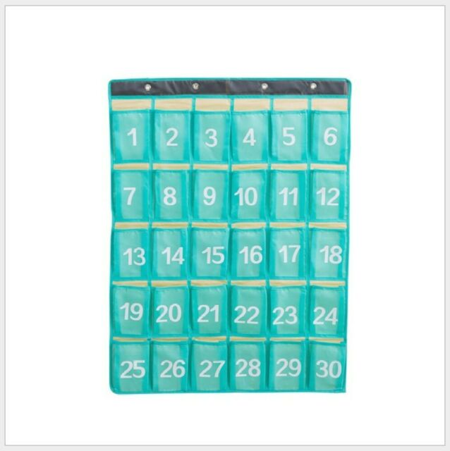 Numbered Classroom Pocket Chart for Cell Phones Holder Hooks Hanging Organizer