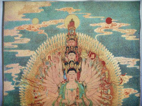 "36/"" China Tibetan Silk Inwrought thangka Tangka Mural thousand hand"