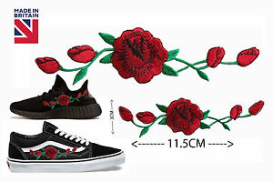 2-X-Red-Rose-Flower-Embroidery-Applique-Patch-For-Shoes-Iron-On-Stick