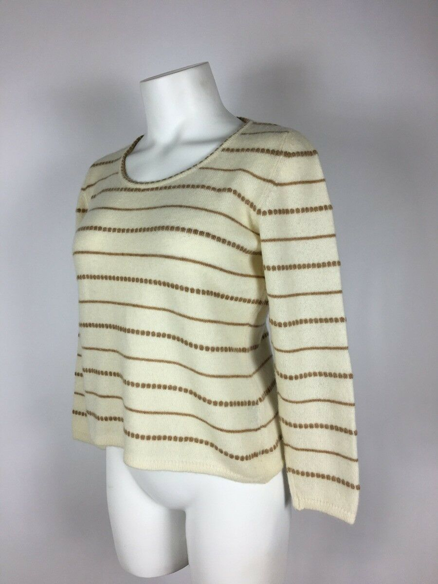 BRIONI ITALY ITALY ITALY Luxurous Ivory Brown 100% cashmere Sweater 42 ef48d5