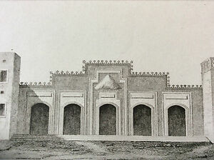 Arabia-Temple-of-Bab-Estafa-Engraving-on-Steel-XIX-Th