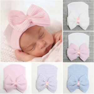 Knitted Caps Infant Striped Fetal Hat Baby Flowers Bow Hat Newborn Hospital Hat