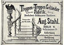 Aug. Stahl Berlin DRECHLEREI BILDHAUEREI TISCHLEREI Historische Reklame von 1896