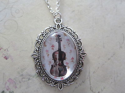 Silhouette jewelry Girl with Violin Silhouette necklace