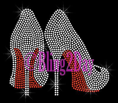 Clear High Heel Custom Color Shoe Bottom Iron on Rhinestone Transfer Bling Hot Fix Applique Fashion DIY