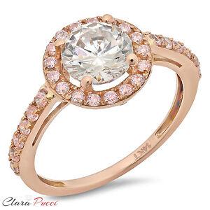 2-39-CT-Round-Cut-Bridal-Bridal-Wedding-Engagement-halo-Ring-Band-14k-Rose-Gold