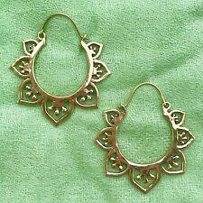 Half Moon Lotus Flower Hoop Earrings in Brass